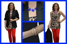 red hot neon orange denim, leopard and blazer with cobalt pop of color!