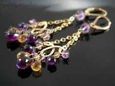 Chandelier earrings Citrine Amethyst earrings 14K gold door Arctida, $99,00