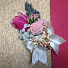 Groom corsage with pin deer created by Casa d'Fleur
