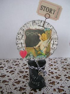Valentine spool with chalkboard paint
