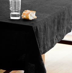 Black Montecito Washed Linen Tablecloth - June, Private Collection