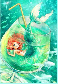 Disney princess fanart - ariel - the little mermaid Anime Mermaid, Mermaid Art, Mermaid Names, Mermaid Glass, Baby Mermaid, Arte Disney, Disney Art, Chibi Neko, Pinturas Disney