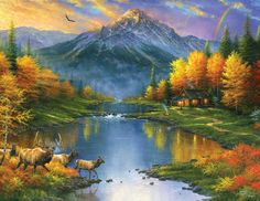 Mountain Retreat - 1000+ piece jigsaw puzzle. Finished size: 27 x 35. Larger pieces for easy grasp. Artist: Abraham Hunter. Released February 2013.  Sunsout puzzles are 100% made in the USAEco-friendly soy-based inksRecycled boardsNot sold in mass-market stores