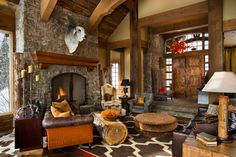 Cool coffee table....Great Room at Beartrap Residence - Yellowstone Club, Big Sky, MT