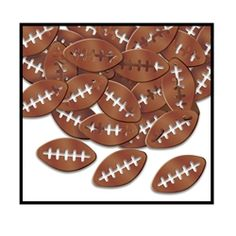 Party Supplies | Football Decorations | Football Confetti...Throw a Super Bowl party to remember and decorate all the tables and counters with these Fanci-Fetti Footballs! These metallic footballs will look great under football themed centerpieces.