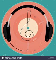 Download this stock vector: Black headphones, vintage vinyl disc and clef. Retro poster. - HK0MWG from Alamy's library of millions of high resolution stock photos, illustrations and vectors.