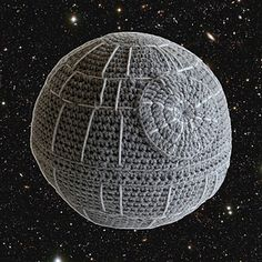 If you love Star Wars you might want to have this sofa cushion in your home! Made with worsted weight acrylic yarn, this sphere is approx 28 inches circumference. free from Ravelry.
