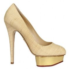 Charlotte Olympia 140mm Straw & Mirror Platform Pumps