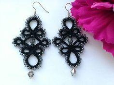 Black lace earrings Tatting earrings Beaded lace earrings