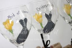 Huge 20oz Bridesmaid dress hand painted wine goblet by Judi Painted it. $24.00 each but discount pricing on large orders.     Many colors, designs and FREE personalization on all orders. For more information or to place an order, visit www.JudiPaintedit.etsy.com or www.JudiPaintedit.com