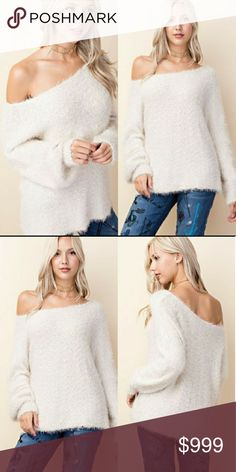Coming soon! Fuzzy Knit Sweater Cream fuzzy super soft knit sweater   Cotton/acrylic Glamvault Sweaters