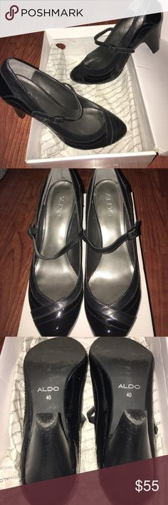 "Aldo Black Patent Leather Mary Janes Sz 40 Style name ""Falylaly"", black leather and black Patent Leather Mary Janes style shoes, only wore three times Aldo Shoes Heels"