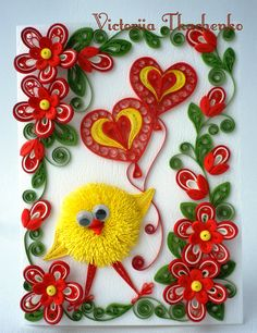 © Vitoriia Tkachenko - quilled valentine and heart cards (Searched by Châu Khang) Quilling Animals, Quilling Paper Craft, Quilling Craft, Quilling Flowers, Quilling Patterns, Quilling Designs, Paper Crafts, Paper Quilling Tutorial, Craft Museum