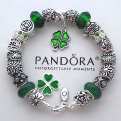 Authentic Pandora Bracelet w/ Green Irish Blessings ~ 4 leaf clover Charm Beads…