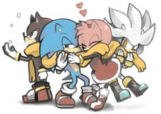 Hedgehogs and scarves; Sonic the Hedgehog, Amy Rose, Silver, Shadow
