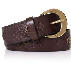 TopShop Flower Embossed Belt ($50) ❤ liked on Polyvore featuring accessories, belts, brown, leather belt, gold buckle belt, brown leather belt, embossed belt and topshop
