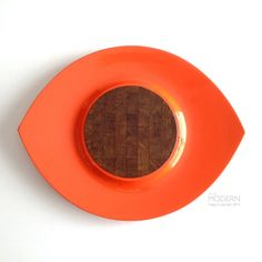 Mid Century Orange Dansk IHQ Festivaal Lacquer Tray with Wood Insert on Etsy, $160.00