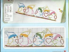 cute birdies Cross Stitch Art, Cross Stitch Borders, Cross Stitch Animals, Cross Stitch Designs, Cross Stitching, Cross Stitch Embroidery, Cross Stitch Patterns, Crochet Bird Patterns, Quilts
