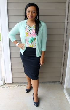 floral top and pencil skirt with mint green cardigan easy modest outfit idea