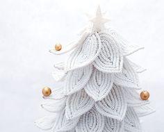 White Christmas tree using the french beaded flower method.