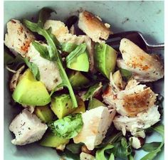 Grilled chicken, avocado and spinach leaves:)
