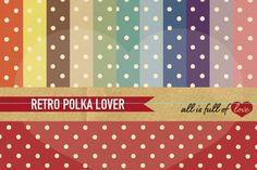 Polka Dots Digital Background Sheets :: Patterns with polka dots in 12 colors with an old paper background. You get 12 High Quality Sheets :: JPG files in Letter and A4 size with 300 dpi jpg, for perfect printing or digital use. These have so many uses, they are great for scrapbooking, crafts, party decor, DIY projects, blogs, stationery & more. All patterns are original and copyrighted by All is Full of love&