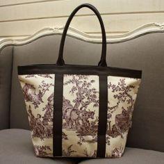 Real Toile de Jouy shoulder bag, from the brand Toile de Jouy L'Authentique. $194.50