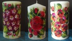 Hand painted candles - on sale in my craft store