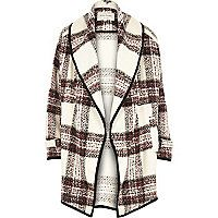 Cream check boucle slouchy jacket