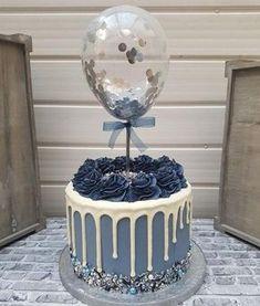 Blue Birthday Cakes, Beautiful Birthday Cakes, Beautiful Cakes, Balloon Birthday, Balloon Wedding, Birthday Bunting, Amazing Cakes, 2nd Birthday, Balloon Cake