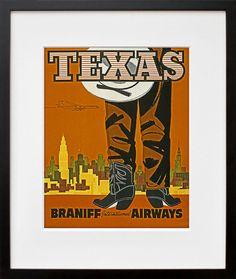 Art Texas Travel Poster Cowboy Vintage Print ZT179 by Blivingstons, $8.99