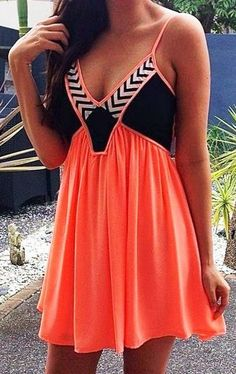 Lovely thin strap embellished orange mini dress. want this! even though it is orange...