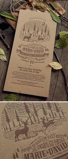 Au cœur de la nature avec ce faire-part imprimé sur papier recyclé brun - Création Cocorico Letterpress Carton Invitation, Letterpress Printing, Invitation Design, Typography Design, Vector Art, Packaging Design, Business Cards, Marie, Unique Gifts