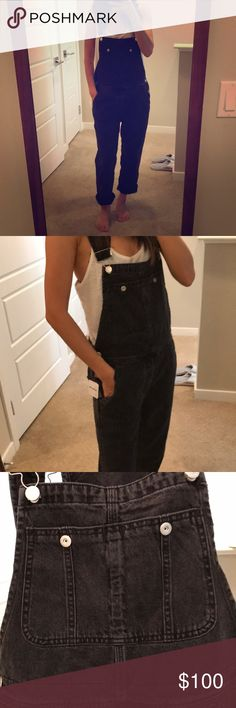 Free People overalls Brand new sold out blk denim FP overalls Free People Pants