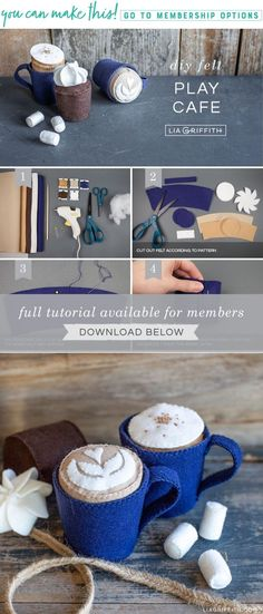 Create a fun way for your kids to enjoy your … DIY Felt Play Cafe – Lia Griffith. Create a fun way for your kids to enjoy your morning coffee with you! Diy Gifts For Kids, Diy Gifts For Friends, Diy Holiday Gifts, Diy For Kids, Crafts For Kids, Diy Christmas, Felt Diy, Felt Crafts, Diy Crafts