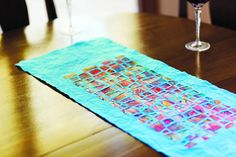 table runner project from Playing With Paper Picnic Blanket, Outdoor Blanket, Sunday Paper, Paper Weaving, Journal Paper, Paper Lanterns, Table Runners, Collage Art, Paper Art