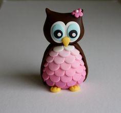 Fondant Girl Owl Cake Cupcake Topper by KimSeeEun on Etsy