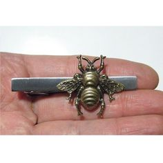 Steampunk Mens Tie Bar Silver Brass Bee Insect Bug by tempusfugit, $19.99