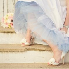 """A unique """"something blue"""" - a blue tulle underskirt!  Perfect for just a peek of color..."""
