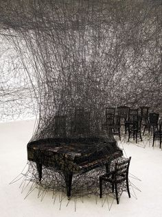 "CHIHARU SHIOTA _ "" Silence ""_ Installation Art_There is something so captivating about this woolen string installation by artist Chiharu Shiota."