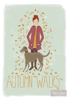 Autumn Walks Art Print is a print of an original hand drawn illustration with hand drawn lettering, created by Rebecca Stoner. It has been