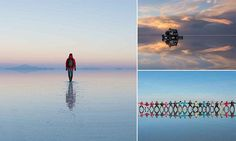 Man captured walking on water at world's largest salt flat in Bolivia