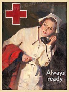 "Nurse ""Always Ready"" 1940s Vintage Style WWII Nursing Medical Poster - 18x24"