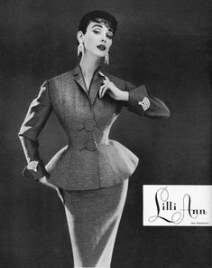 Lilli Ann Ad, 1954  ::  Lilli Ann established her ready-to-wear business in San Francisco in 1942. Despite her West Coast location, her exquisitely detailed coat and suit designs were versatile and sophisticated.