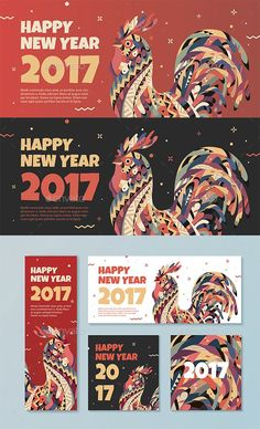 Red Banner with a Rooster for Chinese New Year 2017 - Banners & Ads Web Elements