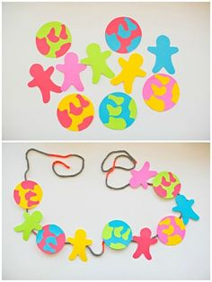 DIY Colorful Earth Day Paper Garland. Earth Day Information, Reise Um Die Welt, Creative Kids, Creative Crafts, Fun Crafts, Projects For Kids, Diy For Kids, Crafts For Kids, School Projects