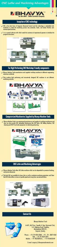 Bhavya Machine Tools offers CNC lathe machines which can be depended for premium finishing, and precise dimension. Flat bed CNC are available for heavy duty as well as moderate machining operations and Slant Bed CNC lathe differs in terms of spindle speed and swing than conventional lathes. Visit at http://www.bhavyamachinetools.com/lathe-machine/cnc-lathe-machine.html