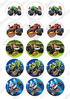 "Blaze And Monster Machines Cupcake Toppers 15 x 2"" pre-cut per sheet (Best Quality): Amazon.co.uk: Kitchen & Home"