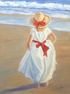 Red Ribbon - by Jane Seymour English) Paintings I Love, Beautiful Paintings, Art Plage, Children Sketch, Jane Seymour, Am Meer, Pictures To Paint, Beach Art, Anime Comics