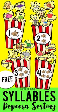 FREE printable sorting activity for preschool and kindergarten kids to sort syllables with a fun popcorn theme! This is a great literacy activity to develop phonemic or phonological awareness. Clap and count the syllables in each popcorn kernel and sort i Syllables Kindergarten, Kindergarten Centers, Kindergarten Reading, Reading Fluency, Kindergarten Classroom, Kindergarten Sorting Activities, Kindergarten Syllabus, Guided Reading Activities, Preschool Writing